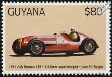 1951 ALFA ROMEO 158 (Juan Fangio) F1 GP Racing Car Stamp (1998 Guyana)