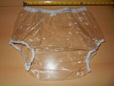 "ADULT BABY CLEAR  NOISY PLASTIC PANTS. SIZE L LARGE 29""-35"" WAIST APPROX"