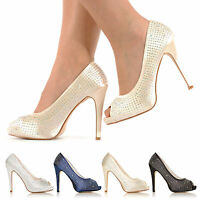 WOMENS WEDDING PROM PARTY EVENING DIAMANTE HIGH HEEL PEEPTOE SHOES SIZE 3-8