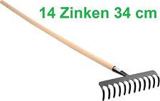 Harke Rechen Laubrechen mit Holz Stiel 14 Zinken 34cm