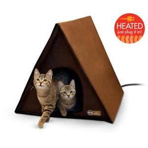 Weatherproof Frame Outdoor Heated Large Cat House Furniture Shelter Pet Brown