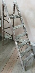 Vintage Wooden Folding Step Ladder Display Prop Garden Shabby Chic folding (8)