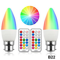 Colour Changing RGB B22 Dimmable LED Candle Bulb 3W RGB + Warm White 3000K