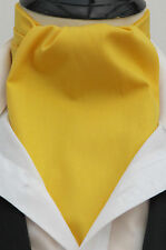 Mens Yellow 100% Top Quality Cotton Ascot Cravat & Handkerchief - Made in UK