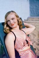 Veronica Lake 11x17 Mini Poster in striped vintage bikini rare color image