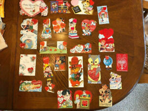Lot of 25 Vintage Valentines Cards 1940s-1960s Children Animals Heart Faces