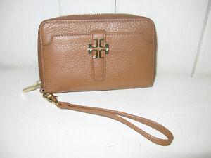 TORY BURCH Dark Tan Wristlet Wallet Purse
