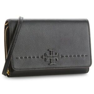 Tory Burch McGraw Taylor Flat wallet Crossbody Bag zipper Black