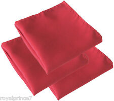 3 RED Solid Handkerchief Only Pocket Square Hanky Wedding