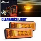 2x Amber 3-led Side Marker Lights Rv Truck Trailer Clearance Light Waterproof