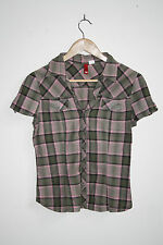 H&M Fashion Designer Style Women's Short Sleeve Shirt Check Cotton Multi Size 38
