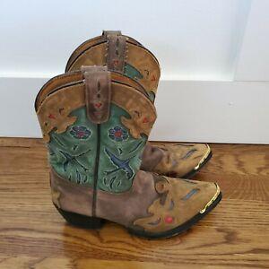 DAN POST Girls YOUTH BLUEBIRD Western Cowboy  Boots W/ Gold tip  Size 3