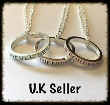 3pcs Friendship Necklaces. Best Friends Forever Ring Pendants. 3 Free Gift Bags