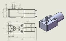 Motor eléctrico Corriente Continua, 90° engranaje angular 45 U/min. 12v DC