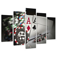 Set of 5 Black White Wall Pictures Split Canvas Art Prints Poker 5048