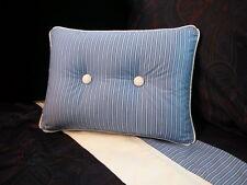 NEW Custom Ralph Lauren Driver Stripe Accent Pillow 2 Button White Piping