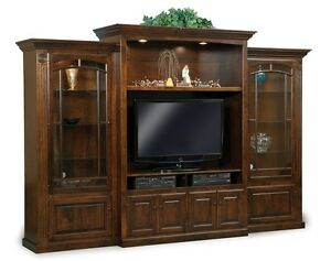Amish TV Entertainment Center Solid Wood Media Wall Unit Glass Door Bookcase
