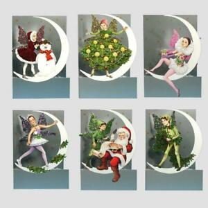 6 3D Moon Fairy Christmas Cards by Courtier with Fold Back Glitter Wings (EW)
