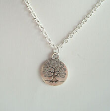 """Tree of Life Sacred Oak Pendant 18"""" S/P Chain Necklace - Wicca Pagan Celtic"""