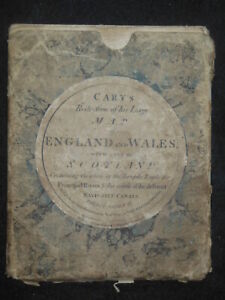 JOHN CARY - RARE 1796 Cary's Reduction of His Large Map of England and Wales