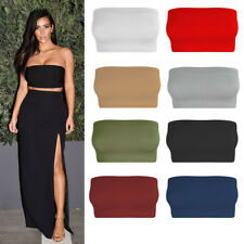 New Womens Plain Boob Tube Strapless Bandeau Stretch Vest Bra Crop Top Size 6-20