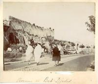 Tunisie, Tunis, Avenue de Bab Jedid Vintage albumen print.  Tirage albuminé