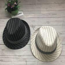 "Lot 2 Canvas Stripe Trilby Fedora Rain Bucket Fashion Hat 22"" Black Ivory"