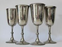 Vintage Silver Plated Goblets, Set of 4 EPNS Wine Glasses, Antique Decor, Metal