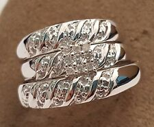 His Her Mens Woman Diamonds Wedding Halo Ring Bands Trio Bridal 10k White Gold