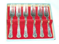 6 Vintage Silver Plated Pastry Forks or Cake Forks Kings Pattern Mint Boxed