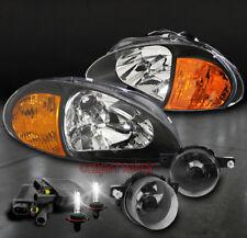 93 94 95 HONDA DEL SOL CRYSTAL BLACK HEAD LIGHT+AMBER CORNER W/BUMPER FOG+6K HID