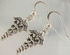 925 Sterling Silver Caduceus Medicine Symbol Hook Earrings 12mm x 19mm oxidised