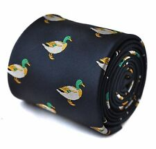 Navy Mens Tie with embroidered Mallard Duck Design by Frederick Thomas FT1533