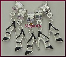 5 Black Stiletto Dangling Charms Shoe Fits European Style Jewelry5 mm Hole S162