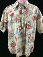 Campia mens shirt size XL Hawaiian red floral beach scene cotton short sleeve