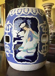 "15"" Tall Chinese Ceramic Barrel Seat/jardiniere Stand"