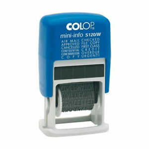 Colop 'Dial a Phrase' S120/W Ink Stamp - NEW - 12 words/Phrases