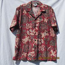 Hilo Hattie mens shirt XL wine red grey tan blue lizard bird floral turtle