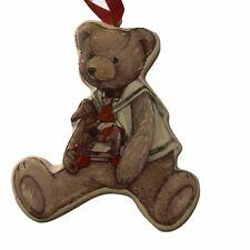 Gisela Graham Teddy Bear Ceramic Xmas Tree Decoration Hanging Vintage Style Gift