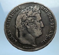 1838 W FRANCE King Louis Philippe I French Silver 5 Francs Coin of Lille i68962