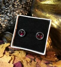 Funky natural Garnet 6mm round bezel cabochon surgical steel stud earrings 🍓