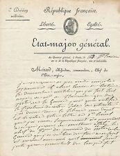 Xavier de Ménard général Révolution 1802 solde retraite en-tête