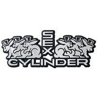Auto Relief Schild Aufkleber SEX CYLINDER verchromt Emblem 10 cm HR Art. 49999