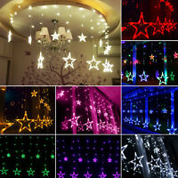 LED Star Fairy String Curtain Window Lights Twinkle Christmas Party Wedding Lamp