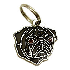 Pet ID tag, engraved, stainless steel, Pug, black