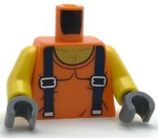 Lego New Orange Minifig Torso Town Miners with Sleeveless T-Shirt over Muscles