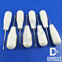 8 Piece Dental Luxating Elevator White Plastic Handle Root Extracting Surgery CE