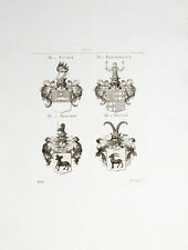 1816 Wappen Kupferstich Tyroff Adelige von Fischer Freudenreich Frisching Keller