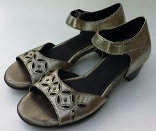 Aravon Womens Shoes Gold Metallic open toe mary jane size 7 narrow  7AA SuperEUC