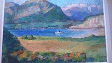 Peinture Léo Bouillon 1943 . Painting signed Léo Bouillon 1943 Lac d'annecy